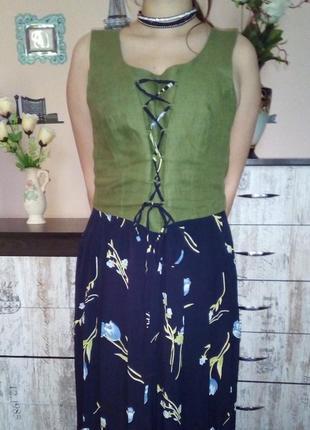 Шикарное натуральное платье-сарафан/принт тюльпаны/ в пол/ с корсетом