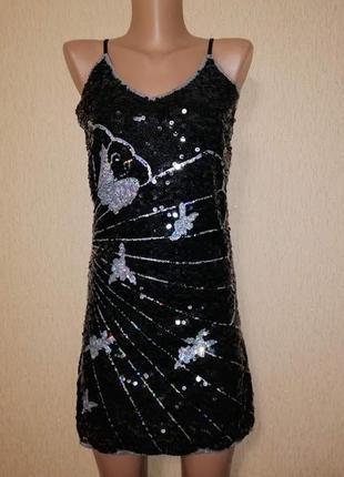 🔥🔥🔥красивое короткое черное вечернее, коктейльное платье в пайетку miss line🔥🔥🔥