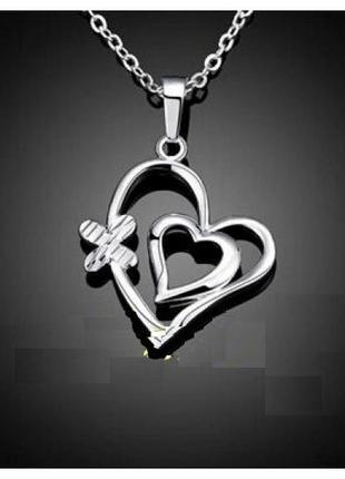 🏵кулон подвеска сердце на цепи в серебре 925, новая! арт. 9606