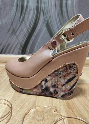 Босоноки guess, туфли звериный принт, открытый носок