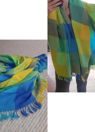 Шикарный яркий, большой и теплый шарф-палантин/клетка, daniel jouvance