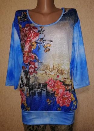 🔥🔥🔥новая футболка, блузка, кофта батального размера со стразами life adrenalin🔥🔥🔥