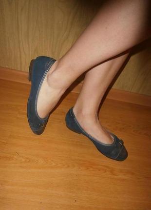 Туфли на низком ходу из натуральной кожи/широкие