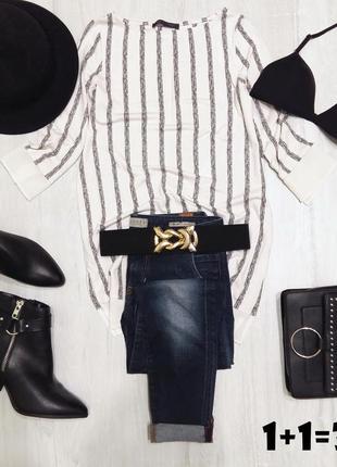 M&s базовый удлиненный пуловер xs-s блузка бела я вполоску блуза джемпер свитер кофта