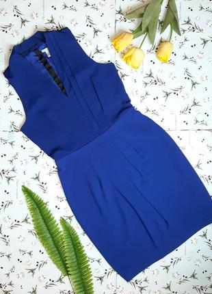 🎁1+1=3 шикарное нарядное синее платье миди с декольте h&m, размер 44 - 46
