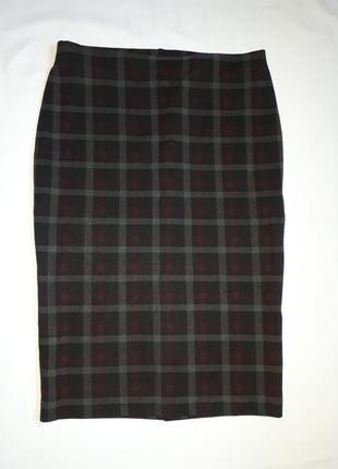 Трикотажная демисезонная юбка в клетку m&s ( размер 12)