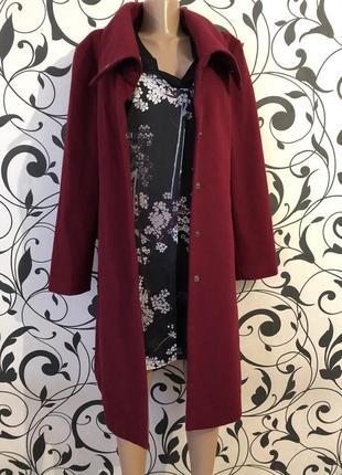 Крутое и неповторимое пальто на кнопках винного цвета бордо марсала на р. л/хл ... 👠❤️💋