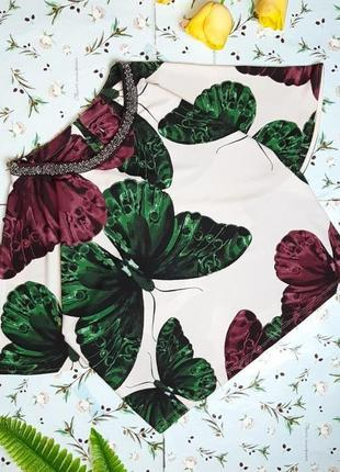 🎁1+1=3 нарядная яркая фирменная блуза с бабочками, размер 48 - 50