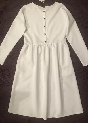 Белое платье,платье миди