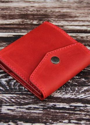 Стильный кожаный кошелёк красный