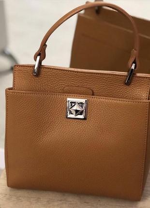 Стильная карамельная сумочка из мягкой натуральной кожи флотар сумка италия шкіряна