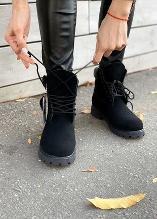 Ботинки timberland black fur