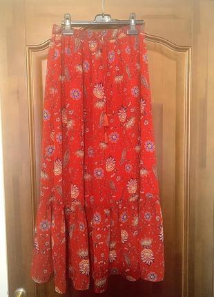 Шикарная трендовая стильная красная юбка promod