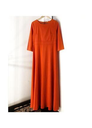 Шикарное платье макси тыквенного цвета