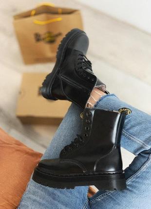 Эксклюзивные полностью черные ботинки dr martens jadon mono black/осень/зима/весна😍