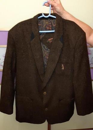 🎁1+1=3 шикарный шерстяной плотный пиджак из 100% шерсти marzo couture, размер 52 - 54