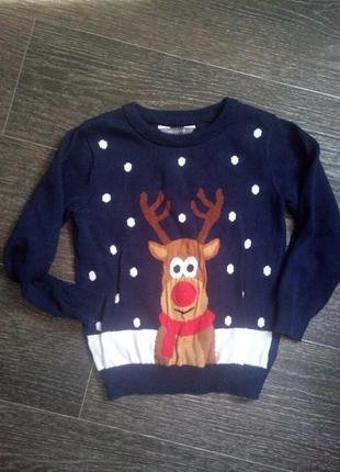 Красивый яркий новогодний свитерок на 2-3 года