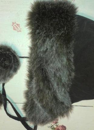 Шапка капор с мехом на завязках (германия)
