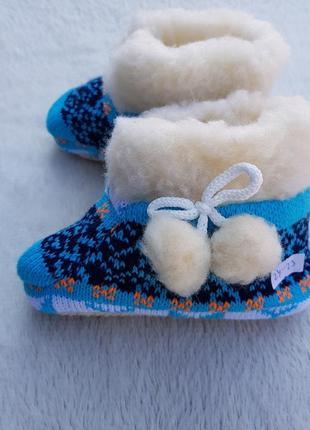 Тёплые детские тапочки сапожки вязаные из овечьей шерсти.