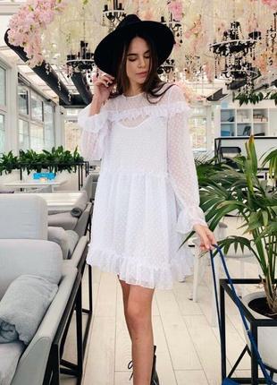 Платье сетка с комбинацией белая