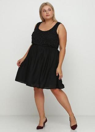 Платье чернное миди свободное большое батал на подкладке с бисером  simply be