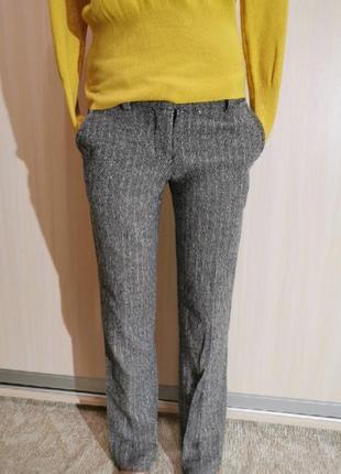 Брюки штаны италия  в елочку шерстяные серые
