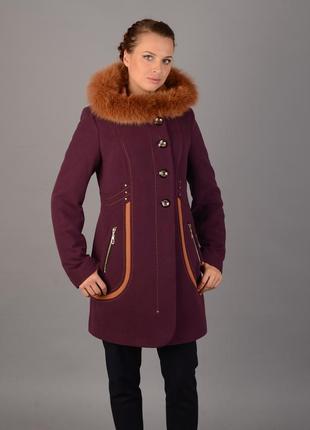 Пальто шерстяное зимнее с контрасной опушкой мех песец, цвет слива 52р