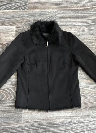 Черная куртка дубленка косуха на полной меховой подкладке, мех из шерсти от principles