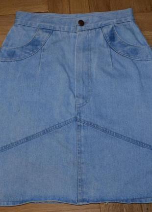 Джинсовая юбка, высокая посадка