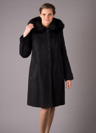 Пальто зимнее шерсть мохер лама с вышивкой 52-54р