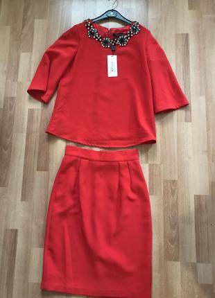 Костюм юбка блуза d & g костюм нарядный с камнями dolce & gabbana