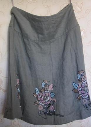 Очень оригинальная юбка с вышивкой.лен.