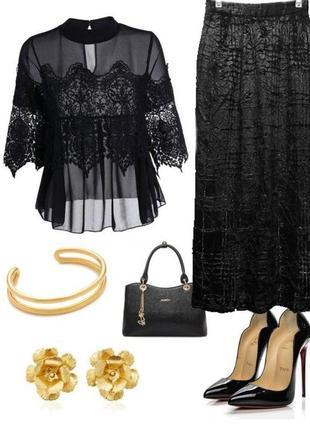 Праздничная блестящая юбка миди черная бархатная р.44-46 murek