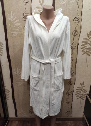 Tcm tchibo белый велюровый махровый халат с капюшоном