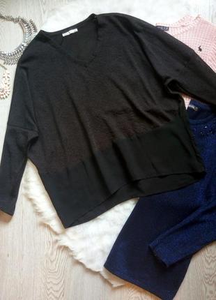 Черная комбинированная блуза пуловер кофточка широкий свитер с вырезом шифон оверсайз