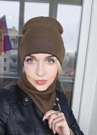 Комплект баф и шапка женская мужская унисекс зимняя теплая шарф снуд горловик хомут