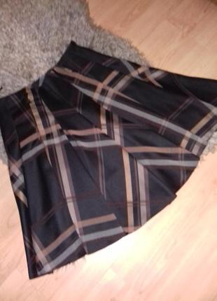 Шикарная юбка солнце из полировпнного хлопка.высокая талия