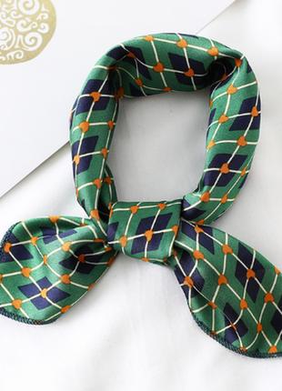 Платок платочек бант лента для волос на сумку топ-качество зеленый в клетку новый