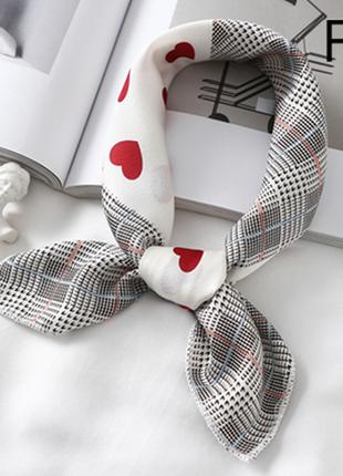 Платок платочек бант лента для волос на сумку топ-качество белый в клетку и сердечка новый