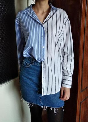 Асиметричная рубашка sinsay в полоску голубая белая серая хлопок