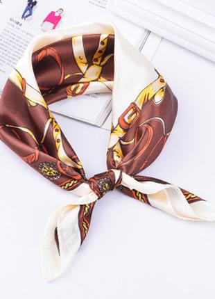 Платок платочек бант лента для волос на сумку топ-качество коричневый императорский новый