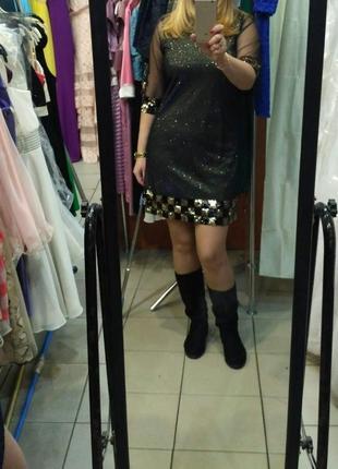 Вечернее платье с люрексом и пайетками