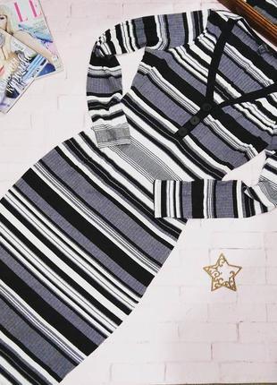 Скидки!!! платье свитер по фигуре из вязаного трикотажа в полоску primark
