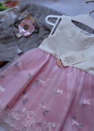 Платье нарядное фатин с шубкой / набір сукня дівчинка святкова + болеро