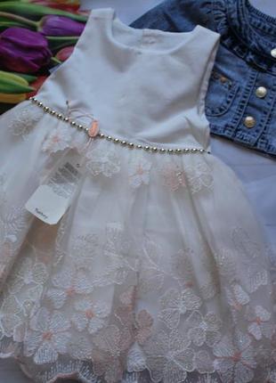 Платье нарядное фатин с пиджаком/ набір сукня дівчинка святкова +болеро джинсове
