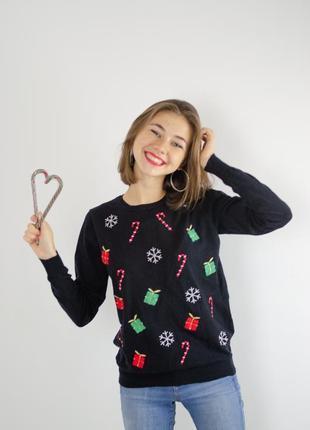 Papaya приятный новогодний свитер, кофта к новому году, черный джемпер праздничный