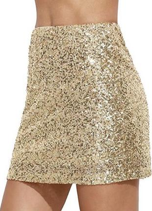 Прямая мини-юбка в пайетках