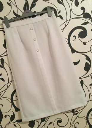 Крутая и непревзойденная белая юбка миди с пуговками с имитацией заднего разреза...👠🌹💋