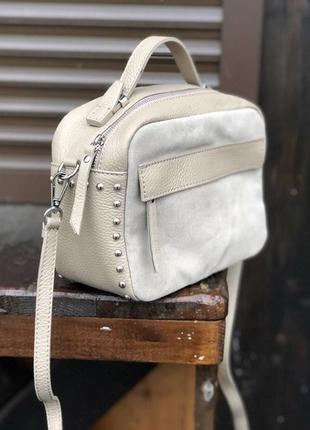 Женская сумочка кроссбоди натуральная кожа италия сумка шкіряна клатч