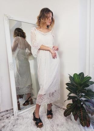 Брендовое шикарное гипюровое платье миди zara